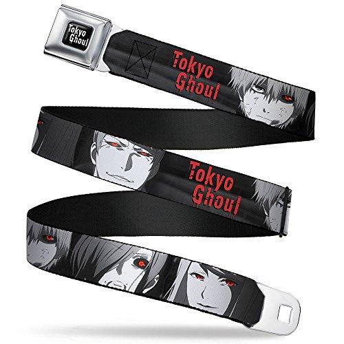 Buckle Down Big Boys 4-character Faces Close-up Black/grays/red Seatbelt Belt, multi, Regular