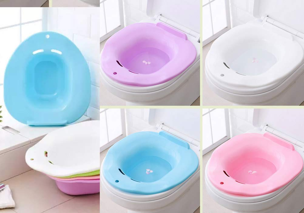 Sitz Bath for Toilet - Hemorrhoids Postpartum Treatment - Pregant Patients Healing Recovery Soacking Tub Blue by SERENITA