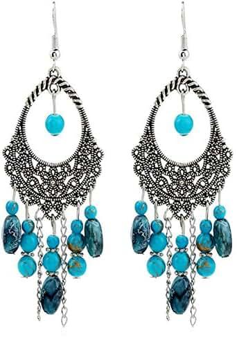 STI-JEWELS Beads Tassel Dangle Earrings Vintage Retro Stone Drop Earrings Jewelry For Women