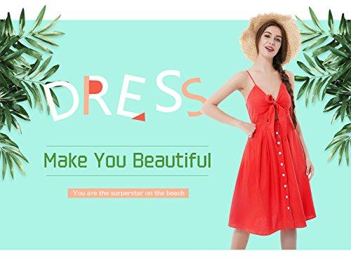 cdcb445b8ce Summer Dresses for Women Sundress Button Down Bohemian Midi V Neck A Line  Beach Swing Dress