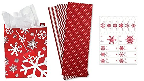 (12) Red / White SNOWFLAKE Gift Bags + (18) sheets Red Tissue + matching tags - Christmas Gift Bag set