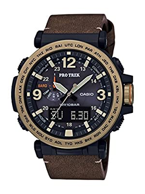 Casio Men's PRO Trek Quartz Watch with Leather Calfskin Strap, Brown, 30.5 (Model: PRG-600YL-5CR) from Casio