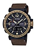 Casio Men's 'PRO TREK' Quartz Resin and Leather Casual Watch, Color:Brown (Model: PRG-600YL-5CR)