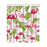 Pink Flamingo Shower Curtain Hooks Flamingo Shower Curtains, Animal Decor, Pink Flamingo and Tropical Plant Leaves, Flamingo Painting Bath Curtain, Polyester Fabric Bathroom Curtain with 12 Hooks, 69X70 Inches