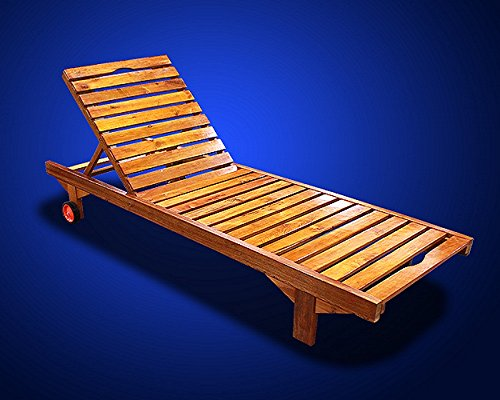 New MTN Deluxe Wooden Oak Wood Sun Lounger with Wheel MP004 (Chair Deluxe Teak Side)