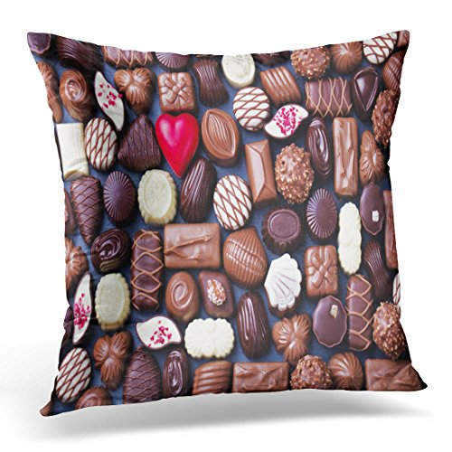 Golee Throw Pillow Cover Brown Belgian Assortment of Fine Chocolate Candies White Dark and Milk Sweets Copy Space Top View Red Decorative Pillow Case Home Decor Square 16x16 Inches Pillowcase (Belgian Red Chocolates)
