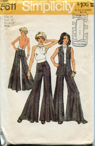 Vintage Simplicity 5611 Sewing Pattern Misses' Halter Top, Unlined Vest and Wide Leg Pants, Check Offers for Size