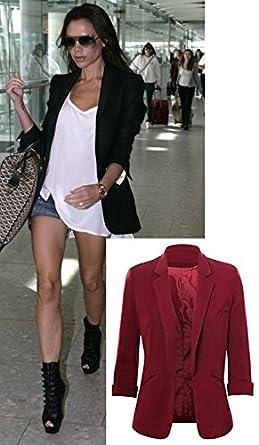 9f0c3d285b Victoria Beckham Celebrity Kim Kardashian Inspired Burgundy Open Front  Collared 3 4 Sleeves Coat Blazer Jacket Size 8-16 (16)  Amazon.co.uk   Clothing