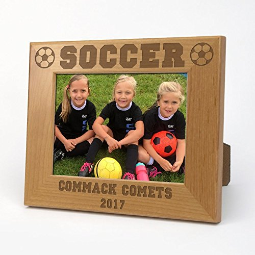 Soccer Personalized Wood Picture Frame with Easel Picture Frame Measures 6 1/2