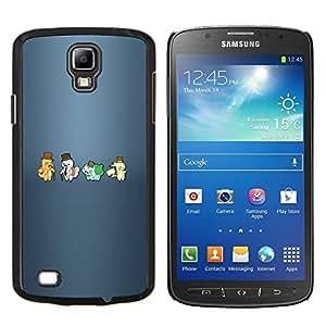 KLONGSHOP // Cubierta de piel con cierre a presión Shell trasero duro de goma Protección Caso - Meter Hipsters Monster - Samsung Galaxy S4 Active i9295 //