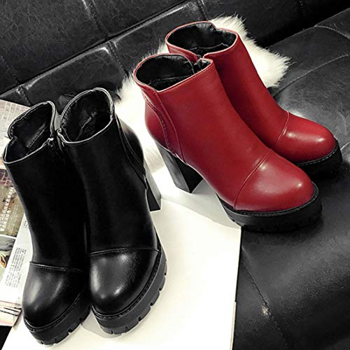 Piattaforma Alti Donna Impermeabile Tacchi con Tacchi Alti Laterali Stivali Casual Inverno Cerniera Autunno Scarpe Martin Donna Scarpe 1S8Z8T