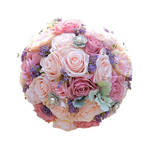 Abbie Home Dusty Pink Peony Rose Bridal Wedding Bouquet Real Touch Holding Flowers with Pearl Jewel Décor