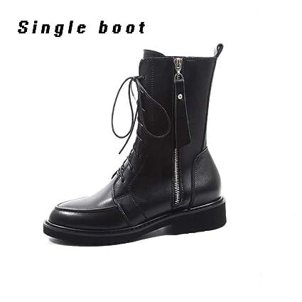 1df9a487fa453 Amazon.com: XUE Women's Shoes PU Winter Combat Boots Boots Flat Heel Booties/Ankle  Boots/Zipper Black (Color : A-Single Shoes, Size : 36): Garden & Outdoor