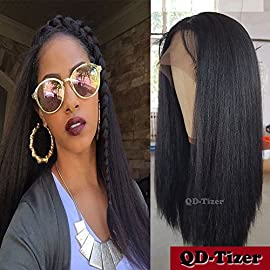 QD-Tizer Synthetic Wigs Black YAKI Straight Hair Synthetic Lace Front Wigs For Fashion Women