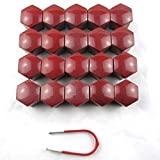 20PCs 19mm RedZ Plastic Bolts Covers Nut Protector and Removal Tool Car Wheel Universal