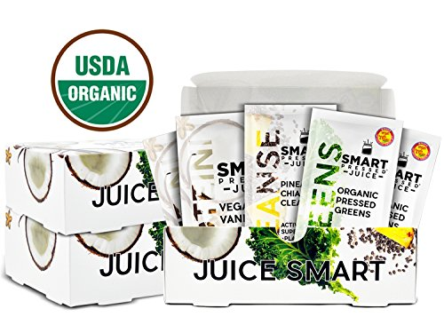 Smart Pressed 3-Day Organic Juice Cleanse Detox Weight-Loss Vegan Non-GMO Superfood Cold-Pressed Greens Juice Powder TSA-approved Fresh Start