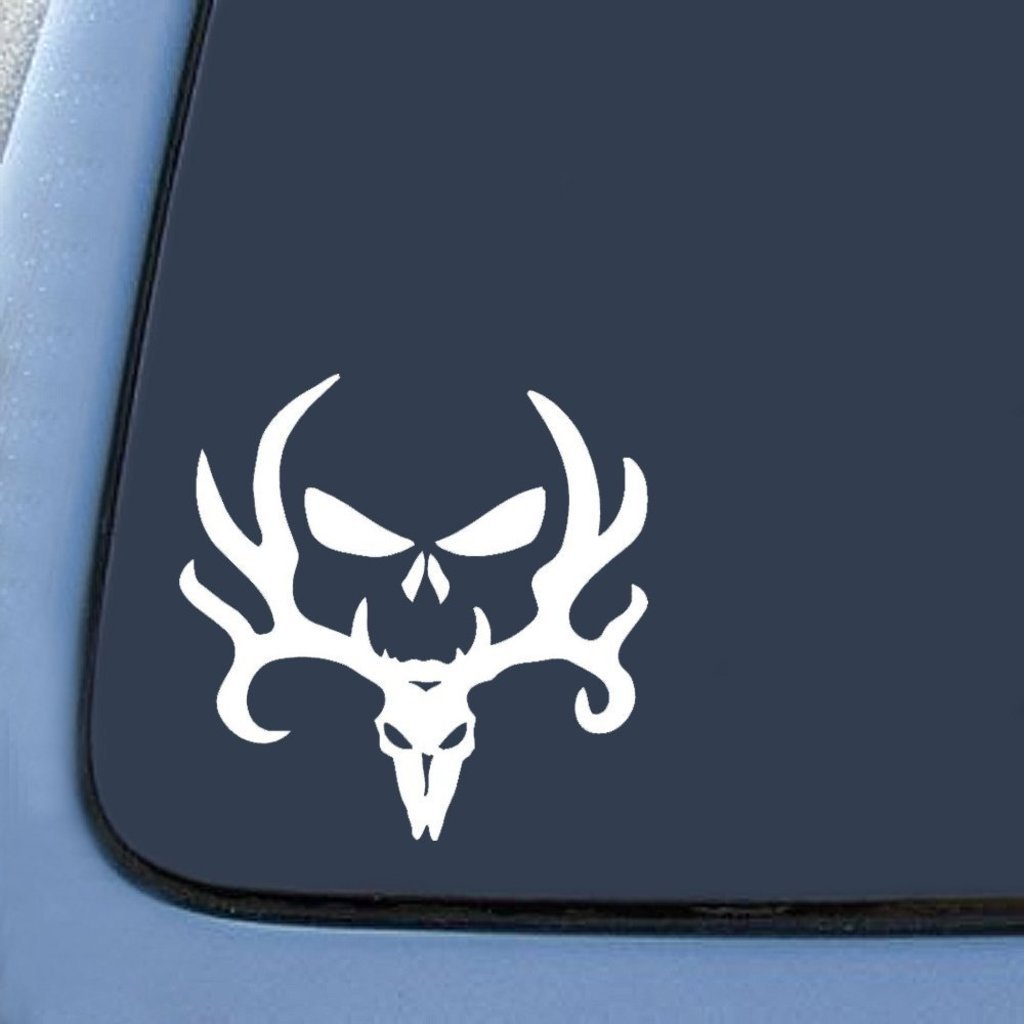 Punisher Decal WHITE CCI188 Browning Skull and Deer Mixed