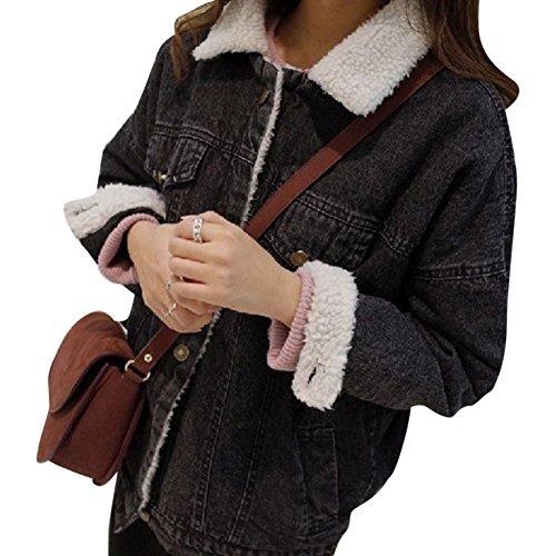 Donna Cappotto Jeans Giacca Nero Caldo Di Cappotti Capispalla Inverno Giacche Denim rErw0qd