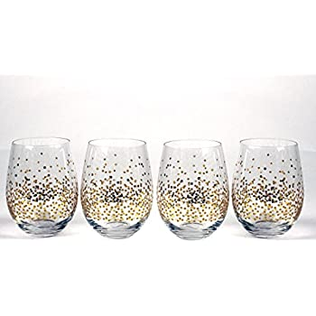 3f36293ec7f Circleware 76823 Confetti Stemless Wine Glasses, Set of 4, Drinking  Glassware for for Water, Juice, Beer, Liquor and Best Selling Kitchen &  Home Decor Bar ...