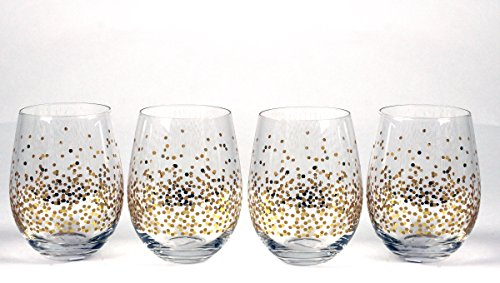 Circleware 76823 Confetti Stemless Wine Glasses, Set of 4 Drinking Glassware for Water, Juice, Beer, Liquor and Best Selling Kitchen & Home Decor Bar Dining Beverage Gifts, 18.9 oz by Circleware
