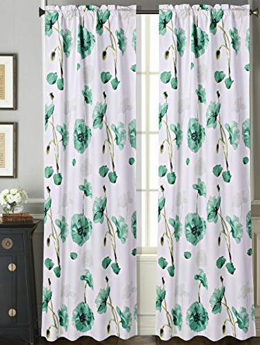 Sapphire Home 2 Rod Pocket Curtain Panels 63 Inches Long, Decorative Floral Print, Light Filtering Room Darking Thermal Foam Back Lined Curtain Panels for Living/Bedroom/Patio Door, DRP 63