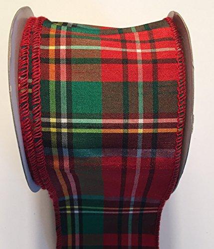 Classic Red Christmas Tartan Plaid Ribbon, 2.5