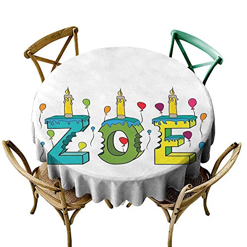 Wendell Joshua White Tablecloth 54 inch Zoe,Colorful Festive Social Gathering Themed Girl Name Design with Birthday Candles Pattern,Multicolor Suitable for Indoor Outdoor Round Tables