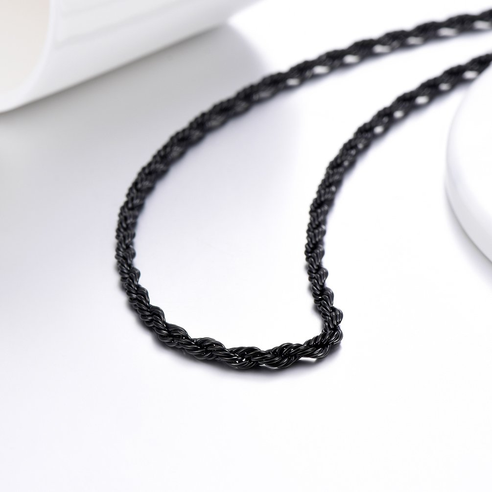 420953f117646 PROSTEEL 3/5/6MM Twist Rope Chain Necklace, 316L Stainless Steel/18K ...