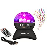 BOOMER VIVI Disco DJ Bluetooth Speakers Rotating LED Strobe Bulb 6 Changing Multi-Color Crystal Stage Light, Bluetooth Wireless Speaker For Party Dance, Ball, halloween, Birthday, Christmas (Black)