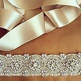 "30% On Sale, Crystal Rhinestone & Pearl Bridal Sash, Wedding Belt, Ivory Crystal Bridal Sash, 17"" of Rhinestones by ShinyBeauty"