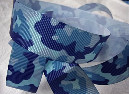 Grosgrain Ribbon - Blue Camouflage - 7/8