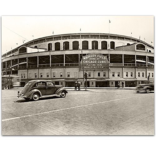 Lone Star Art Vintage Wrigley Field Photograph - 11x14 Unframed Print - Great Sports Bar Decor and Gift Under $15 for Baseball Fans ()