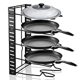 Pan Organizer Rack, 5 Tier Kitchen Saucepan Frying Pan Stand Holder Organizer Storage Rack Shelf for Cabinet Worktop Storage Kitchen Pot Lid