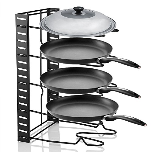 Cookware Bakeware Holder,Multi Tiers Pot Frying Pan Lid Storage Rack Organizer Kitchen Cookware Stand Holder for Kitchen Cabinet Countertop and Pantry by Zerone