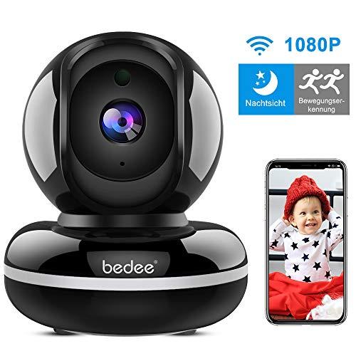 Überwachungskamera Innen bedee IP Kamera Indoor WLAN Kamera 1080P HD Innenkamera Nachtsicht, WLAN IP Kamera mit Bewegungserkennung für Haustier Baby 355°/110° Schwarz