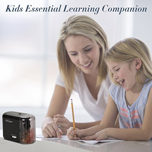 Electric Pencil Sharpener, Auto-Stop Feature and Best Heavy Duty Helical Blade Sharpeners for Office School Classroom Kids Artists, AC adapter or Battery Operated for No.2 and Colored Pencils. (Black) by RUIYA (Image #1)