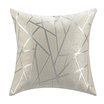 """IYUEGOU Modern Style White Striped Polyester Geometric Decorative Pillow Cover (18 """"X18 """")"""