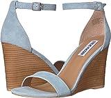 Steve Madden Women's Mary Wedge Sandal Blue Suede 6 M US