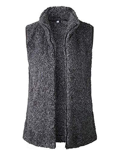 (MAKARTHY Women's Casual Sherpa Faux Fur Vest Zip up Warm Cardigan Waistcoat Outerwear with Pockets Jacket Black)