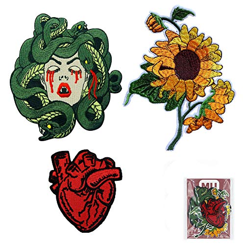 MUNAN-3PC-Sunflower X-Ray Anatomical Heart Medusa-Embroidered Badge Iron On Sew On Patch]()