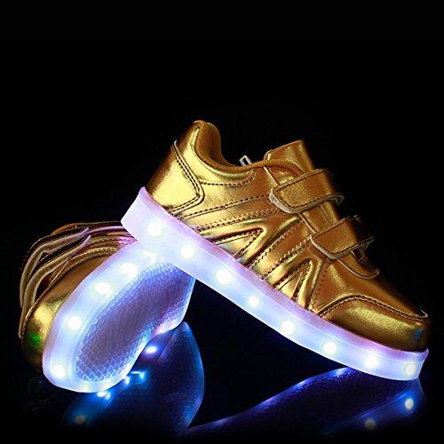 DoGeek Zapatos Led Niños Niñas 7 Color USB Carga Deportivas De Luces Zapatillas( mejor pedir una talla más) Plateado
