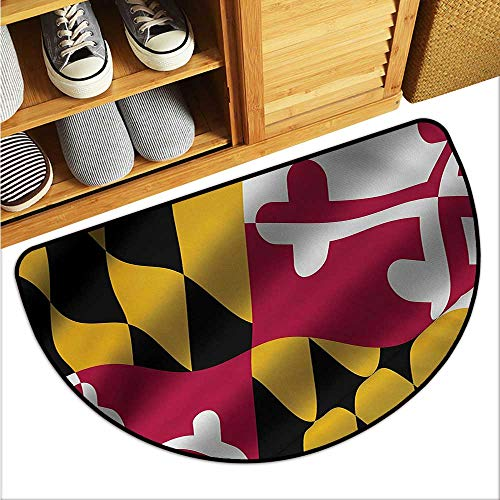 warmfamily American Bathroom Suction Door mat Flag of The US State of Maryland Closeup 3D Style Picture Waving America National Anti-Fading W31 x L19 Multicolor