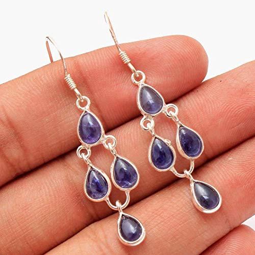 Stunning Iolite Gemstone Designer Drop & Dangle Earrings Solid 925 Sterling Silver Artistic Jewelry Women - Iolite Gemstone
