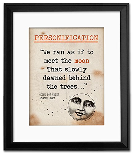Personification Literary Term Framed Mini Poster featuring a quote from Going for Water by Robert Frost. Educational Art ()
