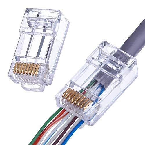 - EZnetizen Gold Plated 100010C EZ - RJ45 CAT6 8P8C 26 Pieces Pass Through 3 Micron 3u 3 Prong Premium Connectors