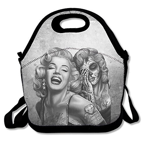 Bakeiy Two Face Marilyn Lunch Tote Bag Lunch Box Neoprene Tote For Kids And Adults For Travel And Picnic (Marilyn Monroe Costume For Kids)
