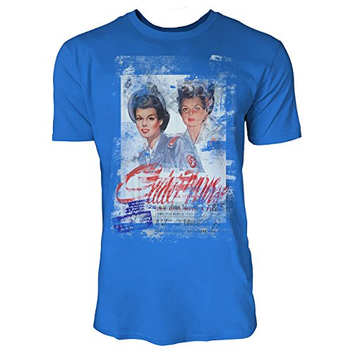 SINUS ART® Twins Herren T-Shirts stilvolles royal blaues Fun Shirt mit tollen Aufdruck