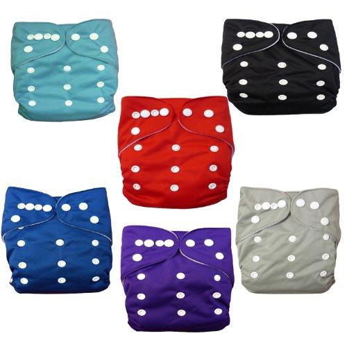Alva Baby 6pcs Pack Pocket Cloth Diaper with 2 Inserts Each (Boy Color) 6BM99