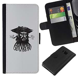 A-type (Pirata Capitán de mar Acuarela Negro) Colorida Impresión Funda Cuero Monedero Caja Bolsa Cubierta Caja Piel Card Slots Para HTC One M9