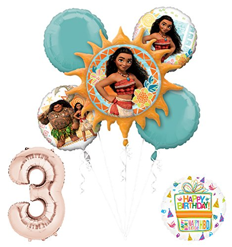 Mayflower Products Moana 3rd Birthday party Supplies and Princess Balloon Bouquet Decorations